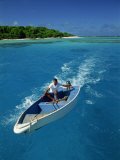 Man Driving Small Boat, Maninita Island, Vava&#39;U Group, Tonga, Pacific Islands, Pacific Photographic Print by Strachan James
