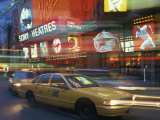Yellow Cabs on the Street at Night, Times Square, New York, USA Photographic Print