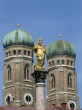 Gilded Statue in the Marienplatz and Towers of the Frauenkirche in Munich, Bavaria, Germany, Europe Photographic Print by Merten Hans Peter