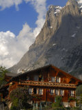Chalet and Mountains, Grindelwald, Bern, Switzerland, Europe Photographic Print by Richardson Peter