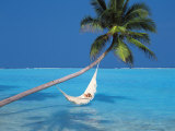 Woman in Hammock, South Male Atoll, Maldives, Indian Ocean Photographic Print by Papadopoulos Sakis