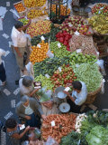 People at a Fruit and Vegetable Stall in the Market Hall in Funchal, Madeira, Portugal Photographic Print by Merten Hans Peter