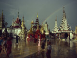Rainbow after Storm, Shwe Dagon Pagoda Complex, Yangon, Myanmar Photographic Print by Wilson John Henry Claude