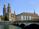 Grossmunster Church and Munster Bridge over the River Limmat, Zurich, Switzerland, Europe Photographic Print by Richardson Peter