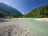 Velika Pisnca River with Peaks of Prisojnik and Razor, Triglav National Park, Julian Alps, Slovenia Photographic Print by Edwardes Guy