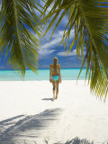 Young Woman Walking on Beach, Maldives, Indian Ocean Photographic Print by Papadopoulos Sakis