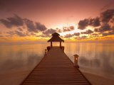 Jetty at Sunset, Island on North Male Atoll, Maldives, Indian Ocean Photographic Print by Papadopoulos Sakis