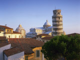 Skyline with the Leaning Tower, Duomo and Baptistery in the City of Pisa, Tuscany, Italy Photographic Print