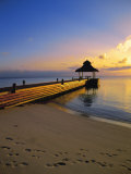 Jetty on the Beach at Sunset, Maldives, Indian Ocean Photographic Print by Papadopoulos Sakis