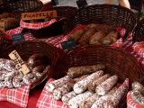 Sausages on a Market Stall, La Flotte, Ile De Re, Charente-Maritime, France, Europe Photographic Print by Richardson Peter