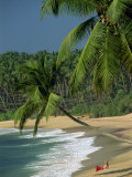 Woman Relaxing on Empty Beach, Tangalla, Sri Lanka Photographic Print by Strachan James