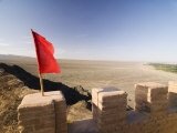 Red Flag Flying on Overhanging Great Wall, UNESCO World Heritage Site, Jiayuguan, Gansu, China Photographic Print by Porteous Rod