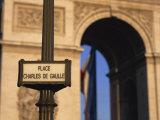 Place Charles De Gaulle Street Sign and the Arc De Triomphe, Paris, France, Europe Photographic Print