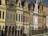 Facades on the 16th Century Town Square in the Town of Telc, South Moravia, Czech Republic Photographic Print by Strachan James
