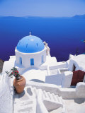 Church Overlooking Sea, Santorini, Cyclades, Greek Islands, Greece, Europe Lámina fotográfica por Papadopoulos Sakis