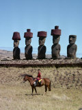 Anekena Moai and Anu Royal, Centre of Kings, on Easter Island, Chile, Pacific Photographic Print by Holdsworth David