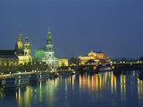 River Elbe and City Skyline at Night at Dresden, Saxony, Germany, Europe Photographic Print by Merten Hans Peter