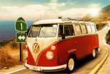 VW bus camper in Californië Poster