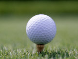 Golf Ball Sitting Oin a Tee Photographic Print