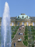 Fountain and Stairway of the Sanssouci Castle in Potsdam, Brandenburg, Germany Photographic Print by Merten Hans Peter