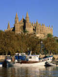 Boats on the Waterfront Below the Cathedral of Palma, on Majorca, Balearic Islands, Spain Photographic Print