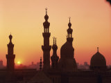 Domes and Minarets Silhouetted at Sunset, Cairo, Egypt, North Africa, Africa Photographic Print