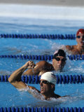 Male Swimmer Reacts after Winning a Race Photographic Print