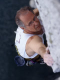 Mature Man Rock Climbing, New York, USA Photographic Print