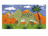 Timmy the Triceratops Premium Giclée-tryk af Sophie Harding