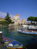 Boats at Sirmione on Lake Garda, Lombardy, Italy, Europe Photographic Print