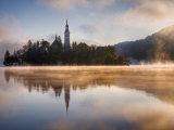 Lake Bled at Dawn with Santa Maria Church, Gorenjska, Julian Alps, Slovenia Photographic Print by Edwardes Guy