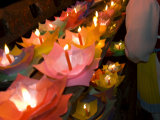 Selling Floating Prayer Candles, Night, Lijiang Old Town , Yunnan, China Photographic Print by Porteous Rod