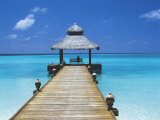 Young Woman Sitting on Bench at the End of Jetty, Maldives, Indian Ocean Photographic Print by Papadopoulos Sakis