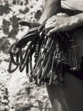 Detail of Hands with Climbing Equipments Photographic Print by Paul Sutton