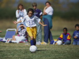 8 Year Old Girl in Action Durring Soccer Game, Lakewood, Colorado, USA Photographic Print