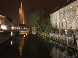 Looking South West Along Dijver, Towards the Church of Our Lady, Bruges, Belgium Photographic Print by White Gary