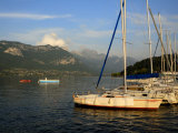 Sailing Boats in Evening Light, Moored on Lake Annecy, Rhone Alpes, France, Europe Photographic Print by Richardson Peter