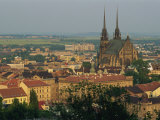 Cathedral and Skyline of the City of Brno in South Moravia, Czech Republic, Europe Photographic Print by Strachan James