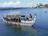 Men in a War Canoe at Langalanga in a Lagoon on Malaita Island in the Solomon Islands, Pacific Photographic Print by Holdsworth David