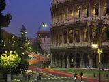 Colosseum Illuminated at Night in Rome, Lazio, Italy, Europe Photographic Print