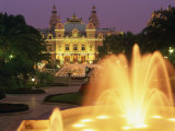 Illuminated Fountains in Front of the Casino at Monte Carlo, Monaco, Europe Photographic Print