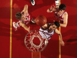 Overhead View of Boys High School Basketball Action Photographic Print