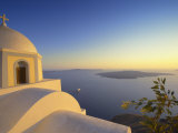 Church and Sunset, Thira, Santorini, Cyclades, Greek Islands, Greece, Europe Photographic Print by Papadopoulos Sakis