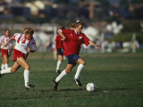 15 Year Old Girls in Action Durring Soccer Game, Lakewood, Colorado, USA Photographic Print