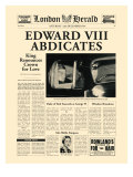 Historic Headlines - Edward VIII Abdicates Poster, London Herald, January 20, 1936