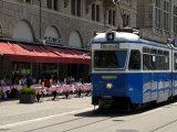 Tram and Restaurant, Zurich, Switzerland, Europe Photographic Print by Richardson Peter