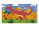 Izzy the Iguanodon Giclee-tryk i høj kvalitet af Sophie Harding