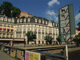 Restriction Signs on the Banks of the Tepla River in Karlovy Vary in West Bohemia, Czech Republic Photographic Print by Strachan James