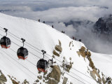Cable Cars Approaching Aiguille Du Midi Summit, Chamonix-Mont-Blanc, French Alps, France, Europe Photographic Print by Richardson Peter