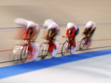 Blurred Action of Cycliing Team Onthe Track Photographic Print by Chris Trotman